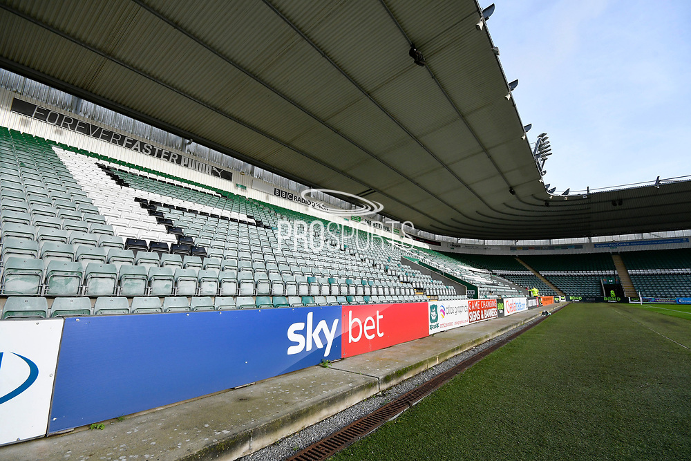 Sky bet 3D advertising board inside Home Park Stadium before the EFL Sky Bet League 1 match between Plymouth Argyle and Accrington Stanley at Home Park, Plymouth, England on 22 December 2018.