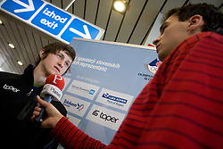Slovenian ski jumper Peter Prevc and journalist of Siol Sportal Andrej Rigler at arrival to Airport Joze Pucnik from Vancouver after Winter Olympic games 2010, on February 24, 2010 in Brnik, Slovenia. (Photo by Vid Ponikvar / Sportida)
