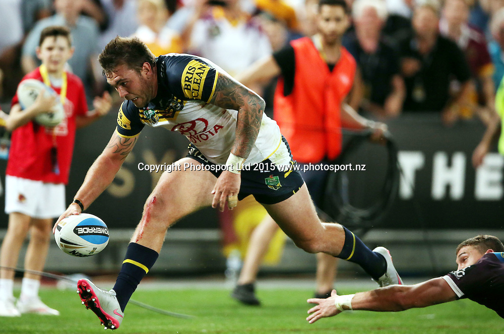 Kyle Feldt goes in to score the match leveling try<br /> Broncos v Cowboys NRL Grand Final rugby league match at ANZ Stadium, Homebush Australia. Sunday 4 October 2015. Photo: Paul Seiser/Photosport.nz