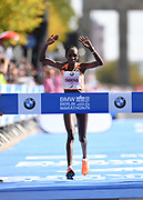 Gladys Cherono (KEN) celebrates after winning the women's race in a course record 2:18.11 during the 45th Berlin Marathon in Berlin, Germany, Sunday, Sept. 16, 2018.. (Jiro Mochizuki/Image of Sport)