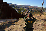 U.S. Border Patrol agent, Vicente Paco, speaks about the work of agents along the international border with Mexico in Nogales, Arizona, USA.