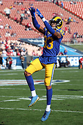 Los Angeles Rams rookie wide receiver Josh Reynolds (83) leaps and catches a pass during pregame warmups before the 2017 NFL week 17 regular season football game against the San Francisco 49ers, Sunday, Dec. 31, 2017 in Los Angeles. The 49ers won the game 34-13. (©Paul Anthony Spinelli)