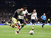Football - 2019 / 2020 Emirates FA Cup - Fourth Round, Replay: Tottenham Hotspur vs. Southampton<br /> <br /> Southampton's Sofiane Boufal holds off the challenge from Tottenham Hotspur's Ryan Sessegnon, at The Tottenham Hotspur Stadium.<br /> <br /> COLORSPORT/ASHLEY WESTERN