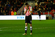 Dara O'Shea (4) of Exeter City looks dejected at full time after a 2-1 loss to Grimsby Town during the EFL Sky Bet League 2 match between Exeter City and Grimsby Town FC at St James' Park, Exeter, England on 29 December 2018.