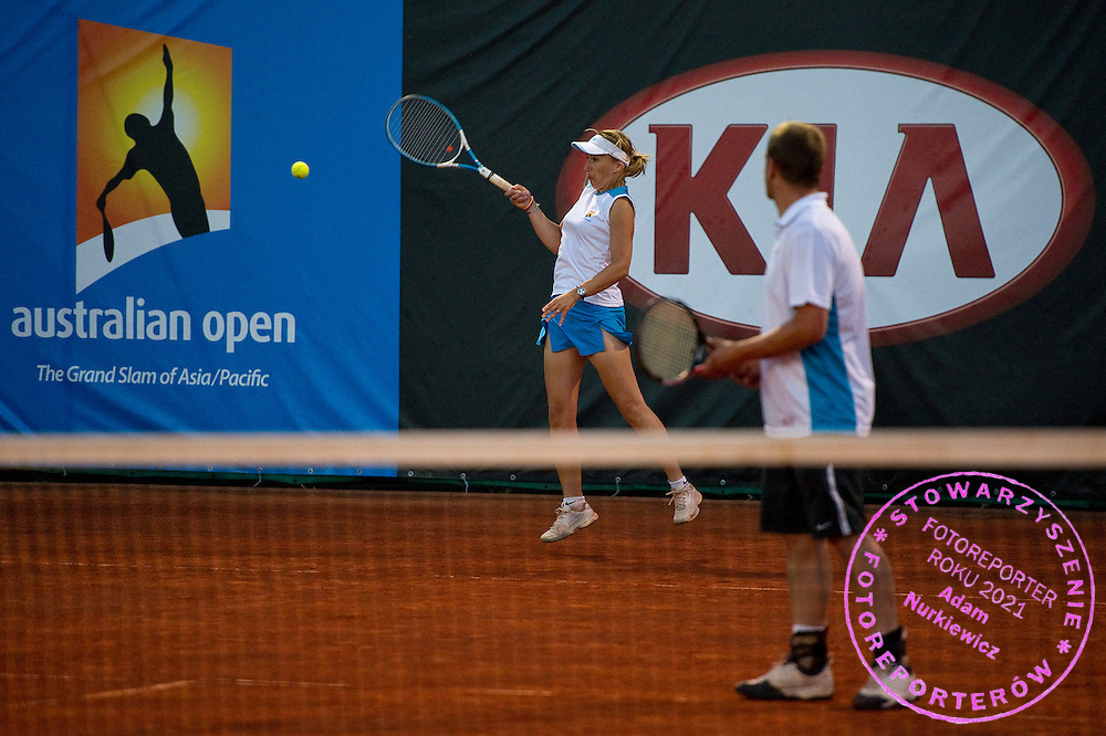 Katarzyna Wachowiak and Lukasz Cyranski compete in 29th Polish National Championships in Amateur Tennis on Warszawianka Courts in Warsaw, Poland.<br /> <br /> Poland, Warsaw, July 17, 2013<br /> <br /> Picture also available in RAW (NEF) or TIFF format on special request.<br /> <br /> For editorial use only. Any commercial or promotional use requires permission.<br /> <br /> Photo by &copy; Adam Nurkiewicz / Mediasport