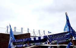 A general view of merchandise for sale outside Goodison Park prior to the beginning of the match