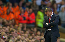 13.09.2014, Anfield, Liverpool, ENG, Premier League, FC Liverpool vs Aston Villa, 4. Runde, im Bild Liverpool's manager Brendan Rodgers looks dejected as his side lose 1-0 at home to Aston Villa // during the English Premier League 4th round match between Liverpool FC and Aston Villa at Anfield in Liverpool, Great Britain on 2014/09/13. EXPA Pictures © 2014, PhotoCredit: EXPA/ Propagandaphoto/ David Rawcliffe<br /> <br /> *****ATTENTION - OUT of ENG, GBR*****