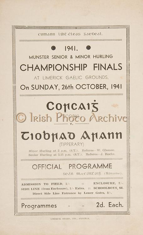 Munster Senior and Minor Hurling Championship Final, .26101941MMHCF..26.10.1941, 10.26.1941, 26th October 1941, ..MInor Cork v Tipperary,