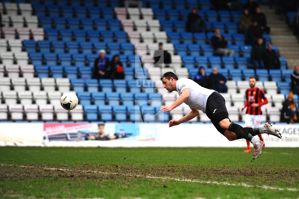 TELFORD COPYRIGHT MIKE SHERIDAN GOAL. Aaron Williams of Telford scores to make it 3-0  during the Vanarama Conference North fixture between AFC Telford United and Kettering at The New Bucks Head on Saturday, March 14, 2020.<br /> <br /> Picture credit: Mike Sheridan/Ultrapress<br /> <br /> MS201920-050