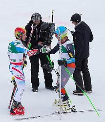15.02.2013, Planai, Schladming, AUT, FIS Weltmeisterschaften Ski Alpin, Riesenslalom, Herren, 2. Durchgang, im Bild Marcel Hirscher (AUT, 2. Platz), Ted Ligety (USA, 1. Platz) // 2nd place Marcel Hirscher of Austria, 1st place Ted Ligety (USA) reacts after their second run of the mens Giant Slalom at the FIS Ski World Championships 2013 at the Planai Course, Schladming, Austria on 2013/02/15. EXPA Pictures © 2013, PhotoCredit: EXPA/ Johann Groder