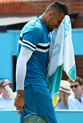 June 23, 2018 - London, England, United Kingdom - Nick Kyrgios (AUS)) in action ..during Fever-Tree Championships  Semi Final match between Marin Cilic (CRO) against Nick Kyrgios (AUS)) at The Queen's Club, London, on 23 June 2018  (Credit Image: © Kieran Galvin/NurPhoto via ZUMA Press)