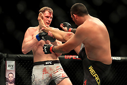 Fabricio Werdum (right) and Alexander Volkov in action during their Heavyweight fight at The O2 Arena, London.