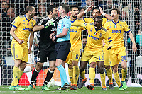 Gianluigi Buffon and Juventus Football Club's players have words with English referee Michael Oliver during Champions League Quarter-Finals 2nd leg match. April 11,2018. (ALTERPHOTOS/Acero)