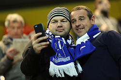 Peterborough United manager Dave Robertson mingles with the clubs traveling supporters to thank them for their support - Photo mandatory by-line: Joe Dent/JMP - Mobile: 07966 386802 - 17/03/2015 - SPORT - Football - Preston - Deepdale - Preston North End v Peterborough United - Sky Bet League One