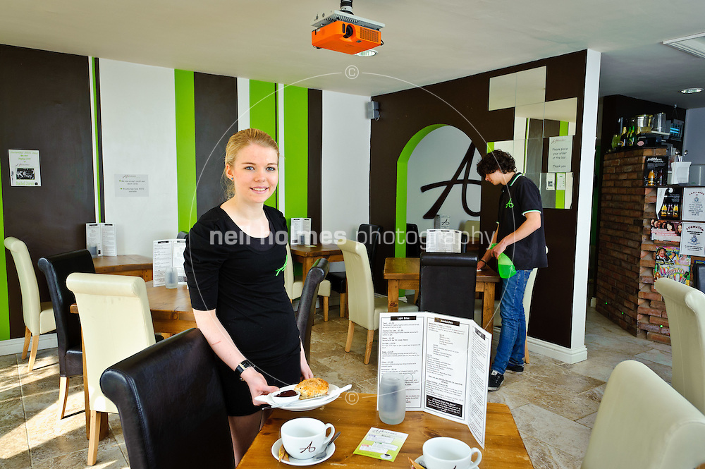 Staff members, Natalie Greendale and Oliver Needham, Atkinsons Caf? Bar, 7 The Square, Willerby, East Yorkshire