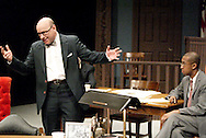 K. L. Storer (left) and Duante Beddingfield during a dress rehearsal of A Case of Libel at the Dayton Theatre Guild in Dayton, Wednesday, May 19, 2010.