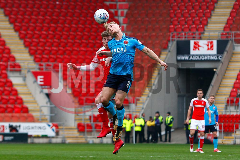 Kyle Dempsey of Fleetwood Town heads the ball - Mandatory by-line: Ryan Crockett/JMP - 07/04/2018 - FOOTBALL - Aesseal New York Stadium - Rotherham, England - Rotherham United v Fleetwood Town - Sky Bet League One