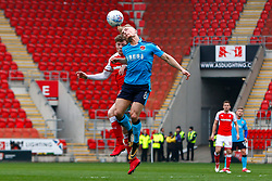 Kyle Dempsey of Fleetwood Town heads the ball - Mandatory by-line: Ryan Crockett/JMP - 07/04/2018 - FOOTBALL - Aesseal New York Stadium - Rotherham, England - Rotherham United v Fleetwood Town - Sky Bet League One