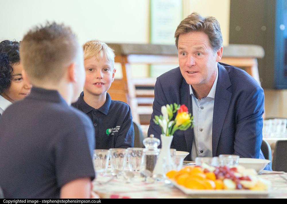 © Licensed to London News Pictures. 02/09/2014. London, UK. Nick Clegg talks to the children about healthy foods.  Deputy Prime Minister Nick Clegg launches free school meals at Clapham Manor Primary School in Lambeth today 2nd September 2014. For many school returning from the school holidays this is the first day of the Governments universal infant free school meals.  Photo credit : Stephen Simpson/LNP