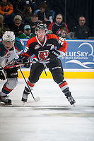 KELOWNA, CANADA - JANUARY 10: Cole Sanford #26 of Medicine Hat Tigers skates against the Medicine Hat Tigers on January 10, 2015 at Prospera Place in Kelowna, British Columbia, Canada.  (Photo by Marissa Baecker/Shoot the Breeze)  *** Local Caption *** Cole Sanford;