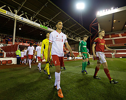 NOTTINGHAM, ENGLAND - Thursday, February 4, 2016: Liverpool's Trent Alexander-Arnold leads his side out to face Nottingham Forest during the FA Youth Cup 5th Round match at the City Ground. (Pic by David Rawcliffe/Propaganda)