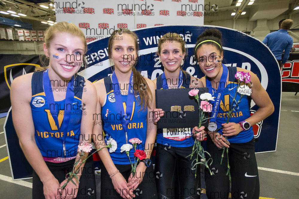 Windsor, Ontario ---2015-03-13--- The CIS Silver medalist Victoria Vikes 4X800 relay team pose for a photo at the 2015 CIS Track and Field Championships in Windsor, Ontario, March 13, 2015.<br /> GEOFF ROBINS/ Mundo Sport Images