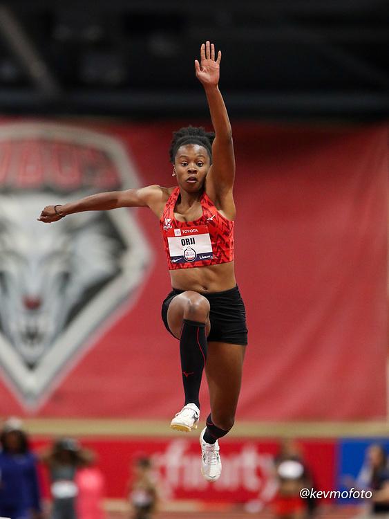 2020 USATF Indoor Championship<br /> Albuquerque, NM 2020-02-14<br /> photo credit: © 2020 Kevin Morris<br /> womens triple jump, Atlanta TC, Mizuno