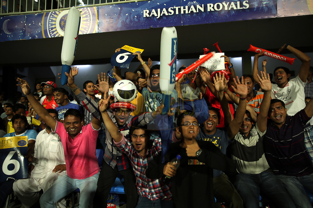 Fans Enjoys during match 7 of the Pepsi Indian Premier League 2014 between the Rajasthan Royals and The Kings XI Punjab held at the Sharjah Cricket Stadium, Sharjah, United Arab Emirates on the 20th April 2014<br /> <br /> Photo by Sandeep Shetty / IPL / SPORTZPICS