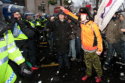 © Under license to London News Pictures. 30/11/2010: Protesters  in London, protesting against cutbacks and the coalition government's proposed rise in tuition fees, confront police as they are kettled in Trafalgar Square. Photo credit should read Joel Goodman/London News Picture