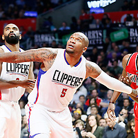 12 December 2016: LA Clippers center Marreese Speights (5) vies for the rebound with Portland Trail Blazers forward Noah Vonleh (21) next to LA Clippers guard Alan Anderson (9)  during the LA Clippers 121-120 victory over the Portland Trail Blazers, at the Staples Center, Los Angeles, California, USA.