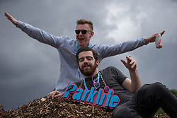 © Licensed to London News Pictures . 08/06/2014 . Heaton Park , Manchester , UK . Festival goers enjoying themselves backstage . The Parklife music festival in Heaton Park Manchester as the sun comes out . Photo credit : Joel Goodman/LNP