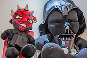 Soft toys as characters from Star Wars on the Posh Paws stand - The annual London Toy Fair, the trade show for the toy and games industry, takes place at Olympia.