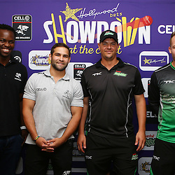 Durban South Africa -  December 3,  Lubabalo Tera Mtembu with Cobus Reinach , Robbie Frylinck and David Miller of the Sunfoil Dolphins Hollywoodbets during the joint announcement by Hollywoodbets, Cell C, the Sunfoil Dolphins and the Cell C Sharks at the President Suite at Sahara Stadium Kingsmead.Sahara Stadium Kingsmead (Photo by Steve Haag)images for social media must have consent from Steve Haag
