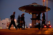 Varginha_MG, Brasil...Monumento em forma de disco voador na Praca Rio Branco em Varginha, Minas Gerais..Monument like a flying saucer in the Rio Branco Square in Varginha, Minas Gerais..Foto: LEO DRUMOND / NITRO