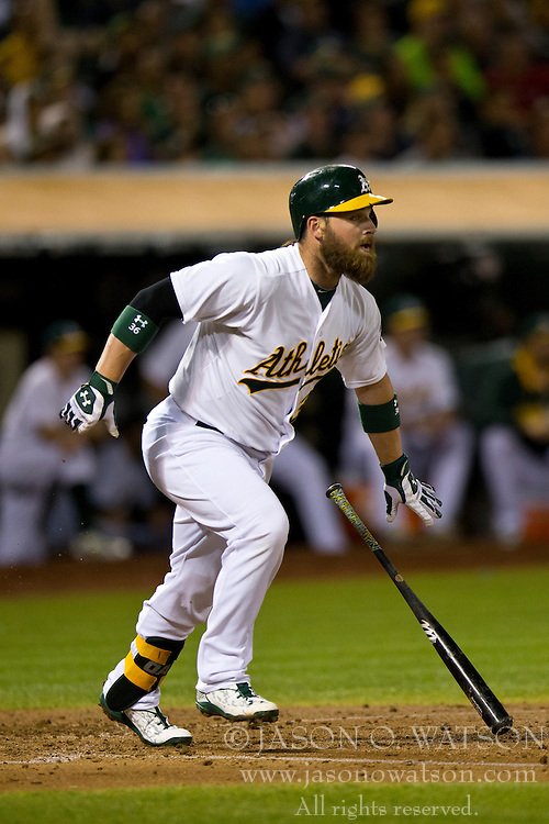 OAKLAND, CA - SEPTEMBER 23:  Derek Norris #36 of the Oakland Athletics at bat against the Los Angeles Angels of Anaheim during the fourth inning at O.co Coliseum on September 23, 2014 in Oakland, California. The Los Angeles Angels of Anaheim defeated the Oakland Athletics 2-0.  (Photo by Jason O. Watson/Getty Images) *** Local Caption *** Derek Norris