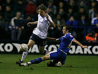 Photo: Steve Bond/Sportsbeat Images.<br /> Leicester City v West Bromwich Albion. Coca Cola Championship. 08/12/2007. Zoltan Gera (L) is tackled by Joe Mattock (R)