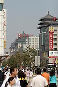 Wangfujing Dajie shopping street and pedestrian zone. McDonald's.