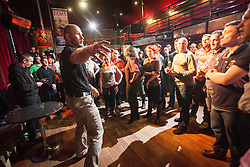 Tommy Blom at the seminar. IKMS 'In The Club' seminar with KMG Global Team Instructor and Expert Level 5, Tommy Blom, at the Buff Club in Glasgow's City Centre. Bringing Krav Maga training out with the confines of the gym into a real nightclub/bar.<br /> &copy; Michael Schofield.