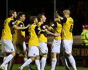 Northampton Town players celebrate Northampton  midfielder John-Joe O'Toole's goal to make it 0-2 during the Sky Bet League 2 match between Crawley Town and Northampton Town at the Checkatrade.com Stadium, Crawley, England on 24 November 2015. Photo by David Charbit.