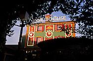"""France. Lyon . Paul Bocuse's restaurant at Collonges , Mont d'or    Dans la cour du restaurant de Paul Bocuse à Collonges au mont d'or, une fresque realisee par l'atelier, cite de la creation"""" reconstitue les grandes heures de l'histoire de la cuisine française.   R00069/2    L930917a  /  P0000209"""