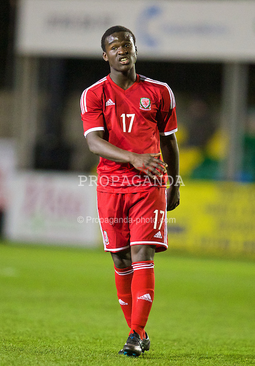 RHYL, WALES - Tuesday, March 18, 2014: Wales' Ibi Sosani in action against Poland during the Under-15's International Friendly match at Belle Vue. (Pic by David Rawcliffe/Propaganda)