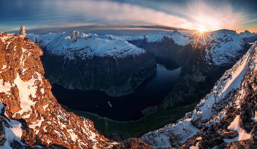 Geiranger, fjord, norway, cruise ship, sunset, mountains, photography,max rive