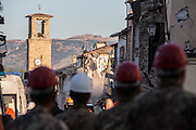 The Amatrice bell tower early in the morning