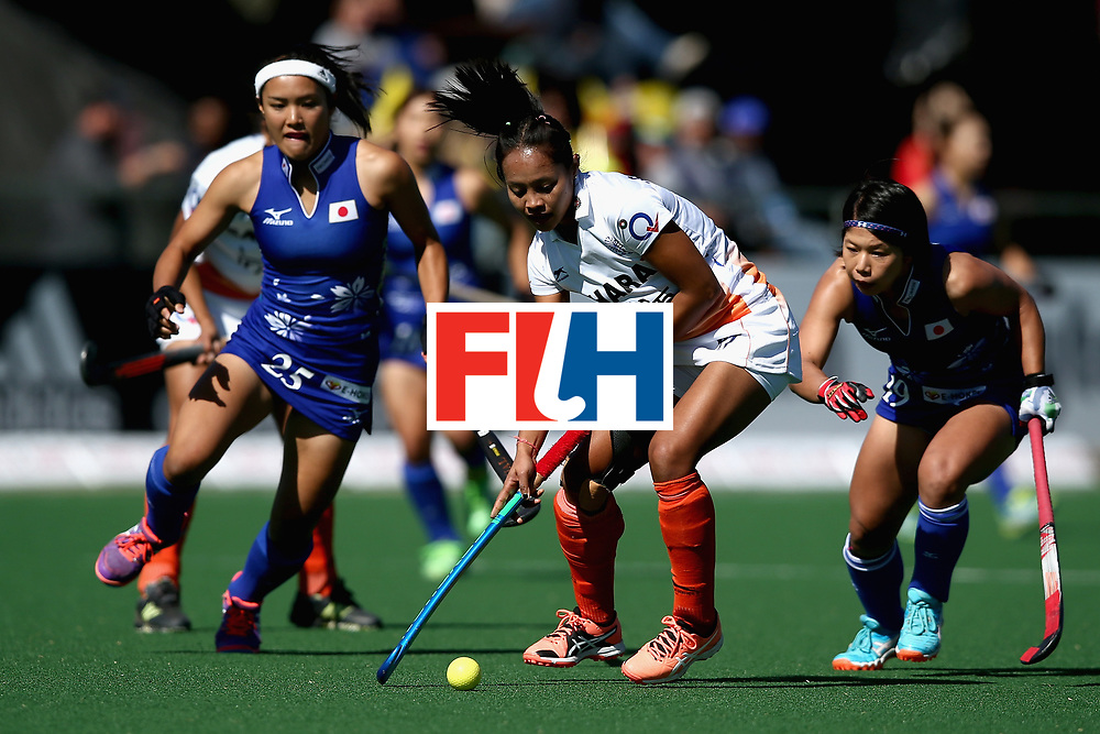 JOHANNESBURG, SOUTH AFRICA - JULY 20: Sushila Pukhrambam of India attempts to take the ball away from Motomi Kawamura of Japan (L) and Akiko Kato of Japan (R) during the 5th-8th Place playoff match between India and Japan during Day 7 of the FIH Hockey World League - Women's Semi Finals on July 20, 2017 in Johannesburg, South Africa.  (Photo by Jan Kruger/Getty Images for FIH)
