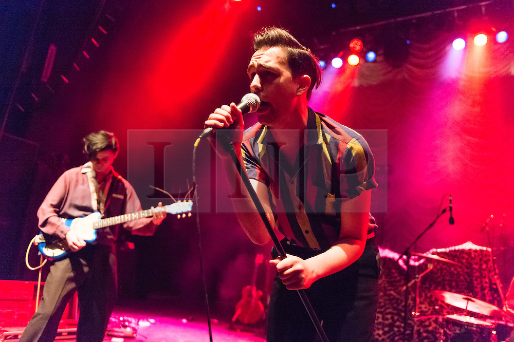"© Licensed to London News Pictures. 24/11/2014. London, UK.   The Caezars performing live at Shepherds Bush Empire, supporting headliner Imelda May.   The Caezards consists of members Mister AJ Denning, Danny ""O"", Thee Jim Wray, Sir Mikey Crowley.    Photo credit : Richard Isaac/LNP"