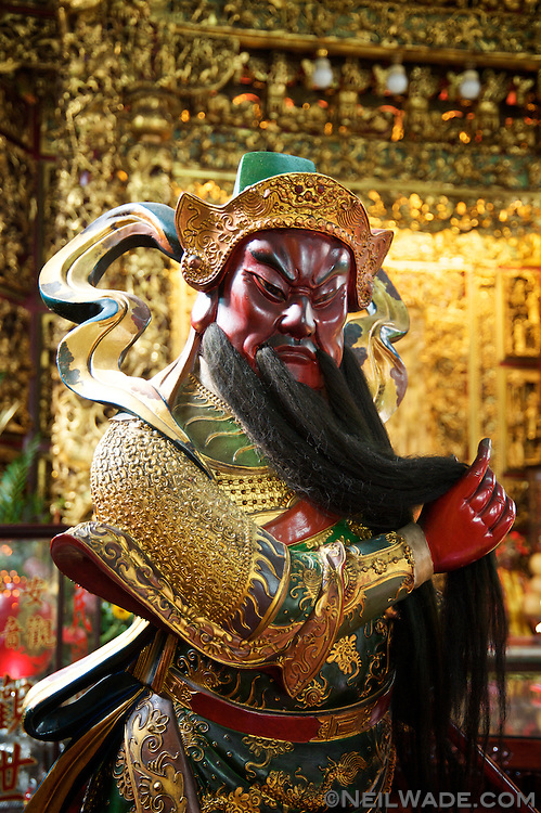 The statue of a Daoist diety in Tainan, Taiwan.