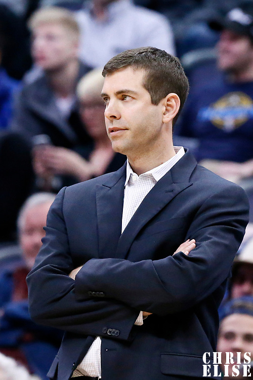 10 March 2017: Boston Celtics head coach Brad Stevens is seen during the Denver Nuggets 119-99 victory over the Boston Celtics, at the Pepsi Center, Denver, Colorado, USA.