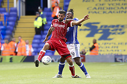 Eros Pisano of Bristol City holds off Jacques Maghoma of Birmingham City - Mandatory by-line: Ryan Crockett/JMP - 12/08/2017 - FOOTBALL - St Andrew's Stadium - Birmingham, England - Birmingham City v Bristol City - Sky Bet Championship