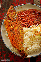 Team Belize's first meal in Belize: fish, rice and beans. PHOTO BY ROGER WINSTEAD