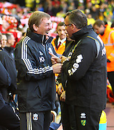 Picture by Paul Chesterton/Focus Images Ltd.  07904 640267.22/10/11.Liverpool Manager Kenny Dalglish and Norwich Manager Paul Lambert before the Barclays Premier League match at Anfield, Liverpool